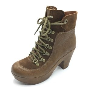 Kork Ease Shoes Maya Militaire Boots Lace Up Brown